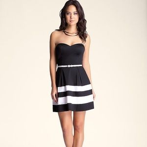 BEBE Colorblock strapless fit & flare party dress
